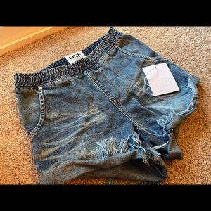 One Teaspoon Slip On Distressed Shorts